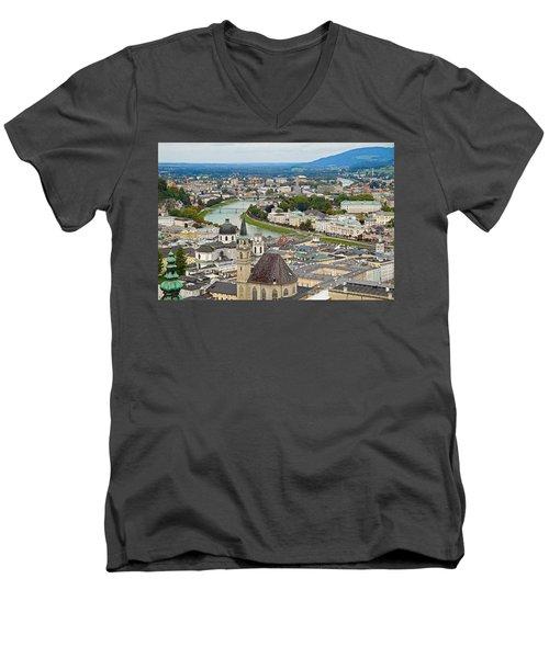 Salzburg From Hohensalzburg Castle Men's V-Neck T-Shirt