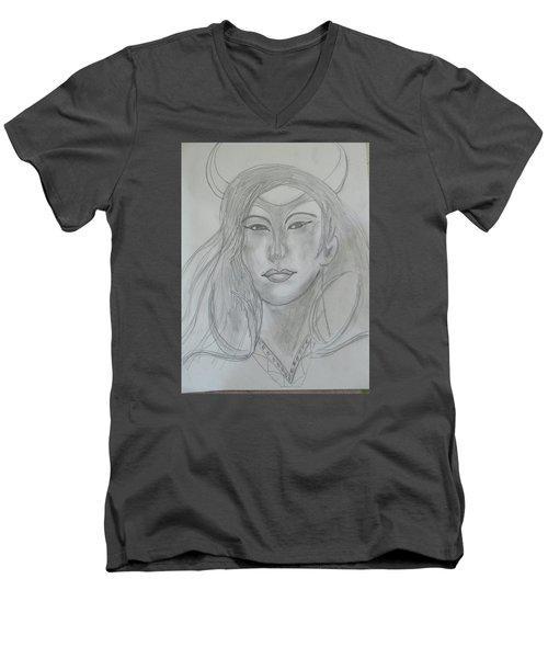Samarai Warrior Woman Men's V-Neck T-Shirt by Sharyn Winters