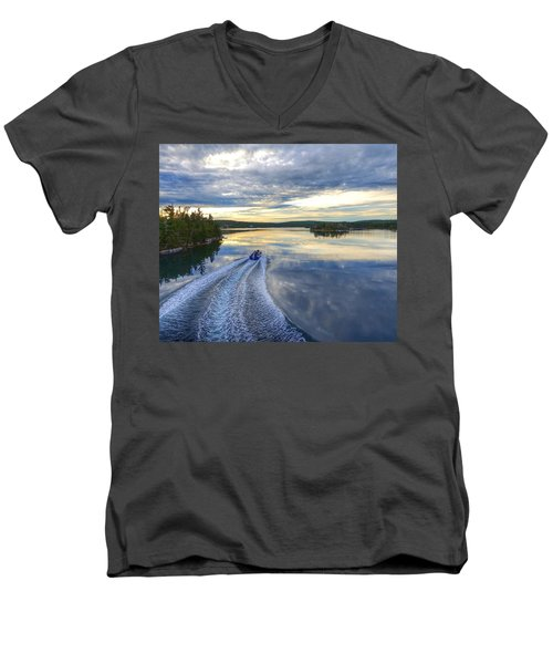 Sambro Basin II Nova Scotia Men's V-Neck T-Shirt by Heather Vopni