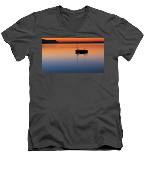 Samish Sea Sunset Men's V-Neck T-Shirt by Tony Locke