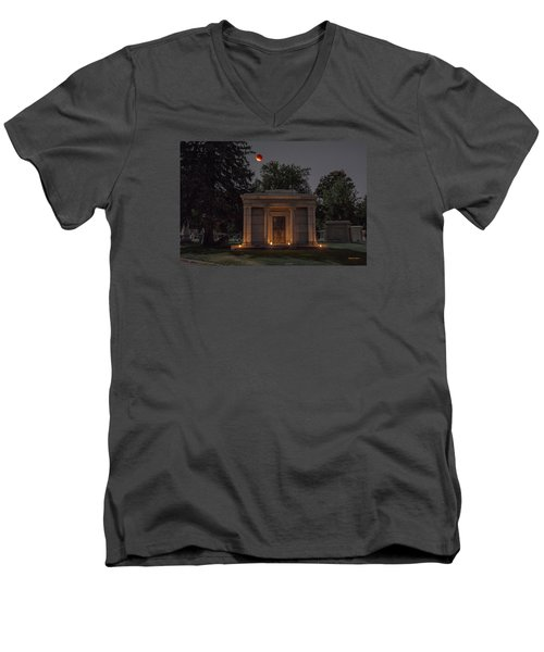 Men's V-Neck T-Shirt featuring the photograph Samuel D. Nicholson Mausoleum Under The Blood Moon by Stephen  Johnson