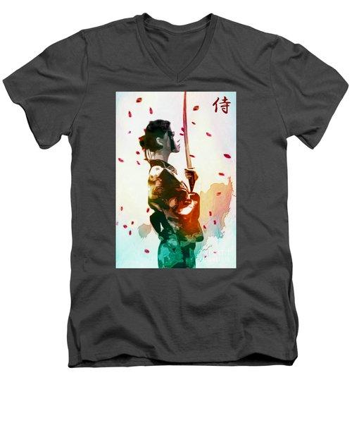 Samurai Girl - Watercolor Painting Men's V-Neck T-Shirt