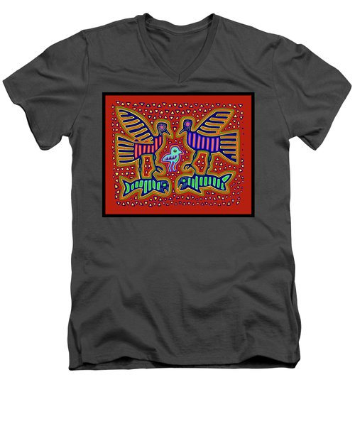 Men's V-Neck T-Shirt featuring the digital art San Blas Kuna Bird Family With Fish by Vagabond Folk Art - Virginia Vivier