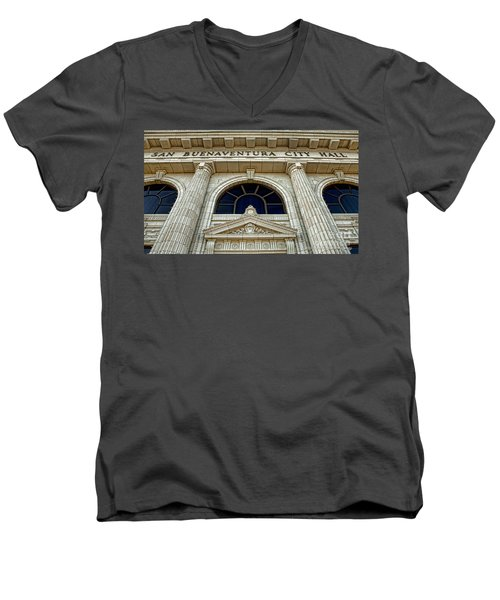 Men's V-Neck T-Shirt featuring the photograph San Buenaventura City Hall by John A Rodriguez