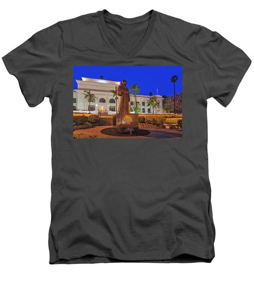Men's V-Neck T-Shirt featuring the photograph San Buenaventura City Hall by Susan Candelario