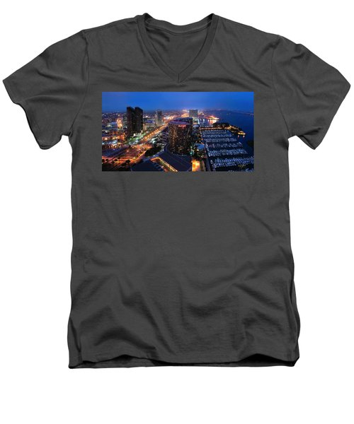 Men's V-Neck T-Shirt featuring the photograph San Diego Bay by Lynn Geoffroy