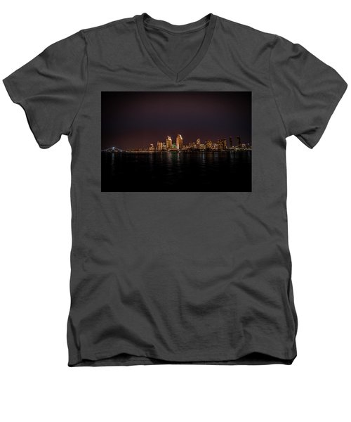 San Diego Harbor Men's V-Neck T-Shirt by John Johnson