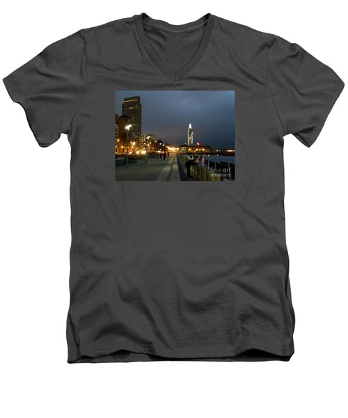 Men's V-Neck T-Shirt featuring the photograph San Francisco Bay At Night by Haleh Mahbod