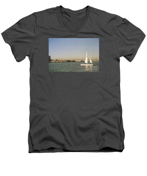 San Francisco Bay Sail Boat Men's V-Neck T-Shirt by Ted Pollard