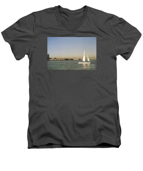 San Francisco Bay Sail Boat Men's V-Neck T-Shirt