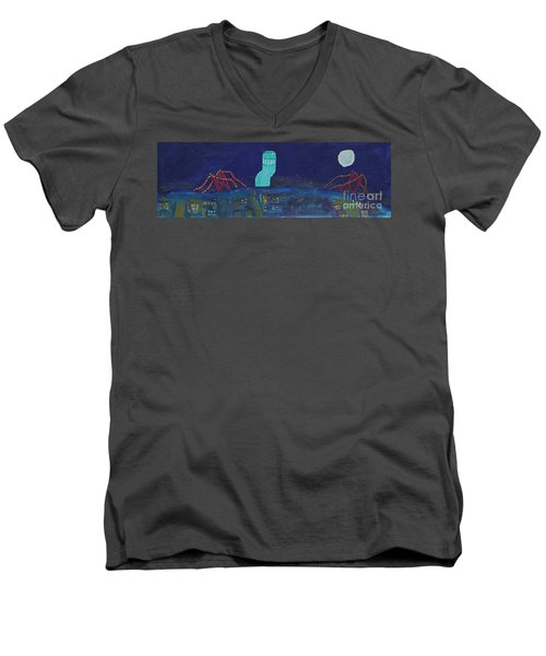 San Francisco Coit Tower Abstract Men's V-Neck T-Shirt