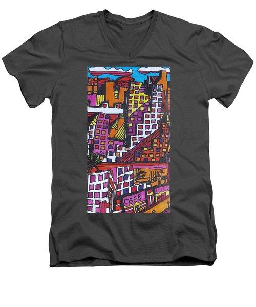 San Francisco  Men's V-Neck T-Shirt by Don Koester