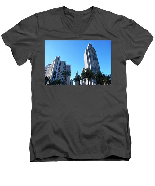 San Francisco Embarcadero Center Men's V-Neck T-Shirt by Matt Harang