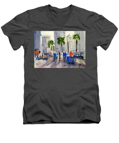 San Francisco Embarcadero Men's V-Neck T-Shirt by Tom Simmons