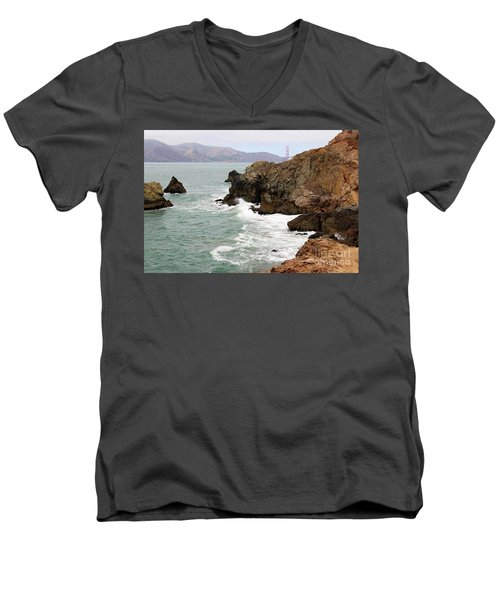 San Francisco Lands End Men's V-Neck T-Shirt by Cheryl Del Toro