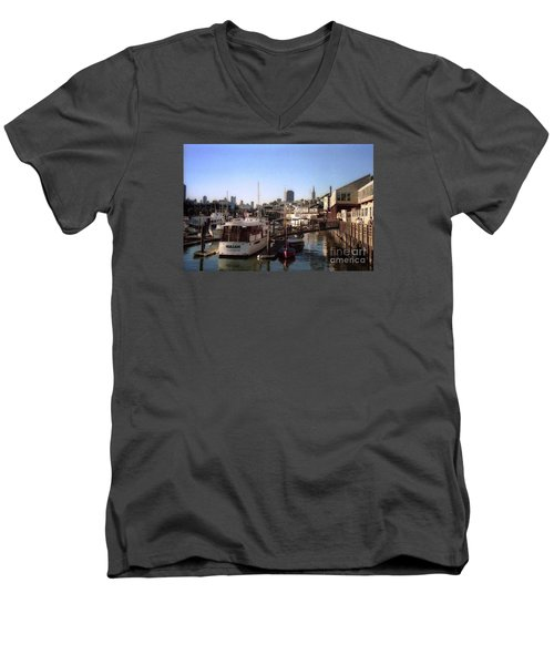 San Francisco Pier And Boats Men's V-Neck T-Shirt by Ted Pollard