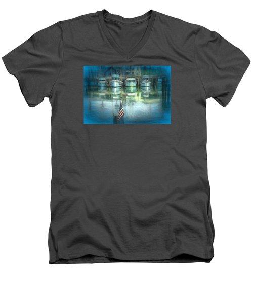 San Francisco Pier Men's V-Neck T-Shirt by Michael Cleere