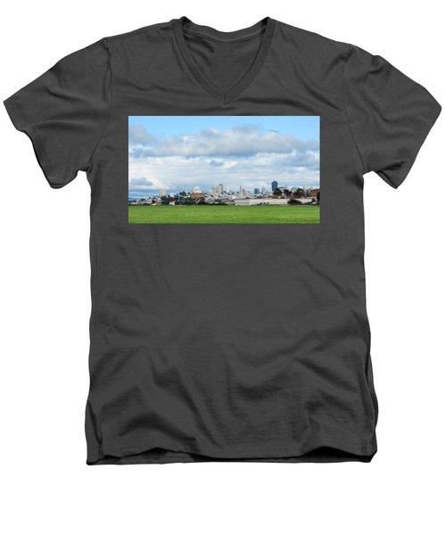 San Francisco Skyline From Crissy Field Men's V-Neck T-Shirt by Mark Barclay