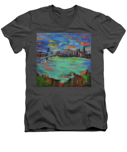 San Francisco Skyline In Sunset Men's V-Neck T-Shirt
