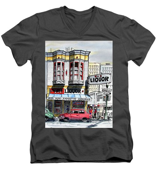San Francisco Street Corner Men's V-Neck T-Shirt by Terry Banderas