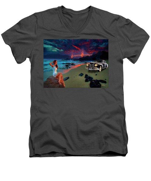 San Francisco Sunrise Men's V-Neck T-Shirt