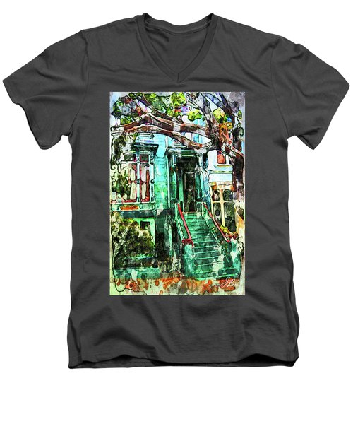 San Francisco Victorian Men's V-Neck T-Shirt by Joan Reese