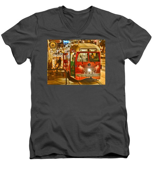 Men's V-Neck T-Shirt featuring the photograph San Francisco's Ferry Terminal by Steve Siri