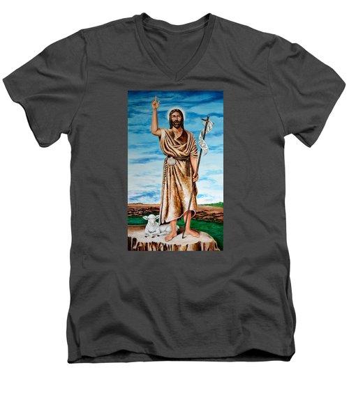 San Juan Bautista Men's V-Neck T-Shirt by Edgar Torres