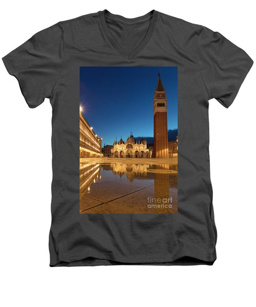 Men's V-Neck T-Shirt featuring the photograph San Marco Twilight by Brian Jannsen