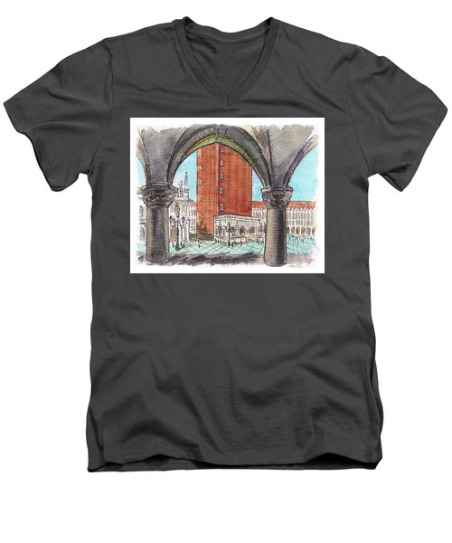 Men's V-Neck T-Shirt featuring the painting San Marcos Square Venice Italy by Irina Sztukowski