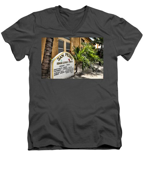Men's V-Neck T-Shirt featuring the photograph San Pedro Roman Catholic Church by Lawrence Burry
