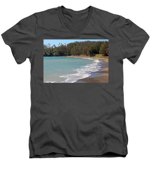 Men's V-Neck T-Shirt featuring the photograph San Simeon Cove by Art Block Collections