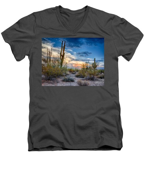San Tan Mountain Park Sunset Men's V-Neck T-Shirt