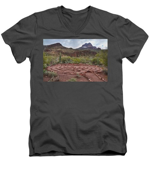 Sanctuary Cove Labyrinth Men's V-Neck T-Shirt by Donna Greene