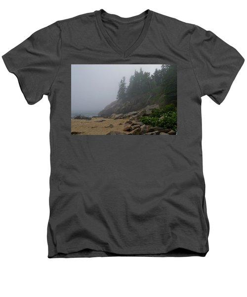Sand Beach In A Fog Men's V-Neck T-Shirt