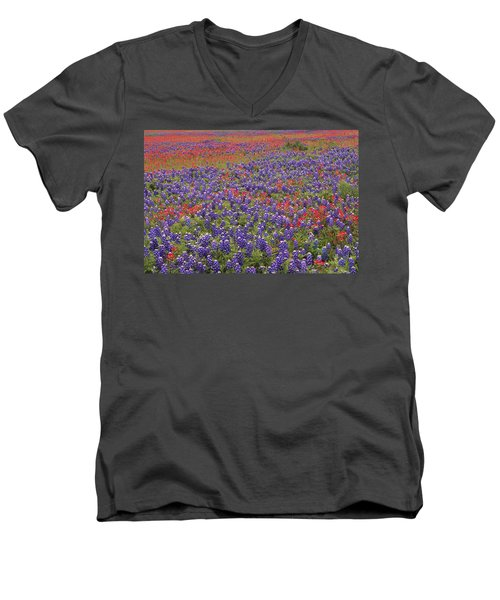 Sand Bluebonnet And Paintbrush Men's V-Neck T-Shirt
