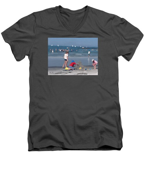 Sand Castle And Sailboats At Wingaersheek Beach Men's V-Neck T-Shirt
