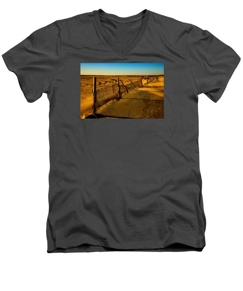 Sand Fences At Lands End II Men's V-Neck T-Shirt by John Harding