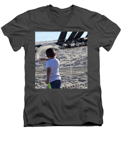 Sand Rainbow Men's V-Neck T-Shirt by John Glass