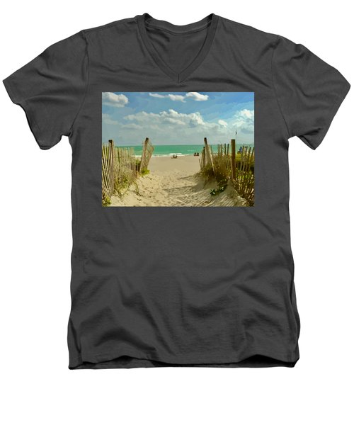 Sand Track To The Beach Men's V-Neck T-Shirt