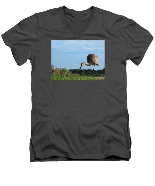Sandhill Crane 018 Men's V-Neck T-Shirt by Chris Mercer