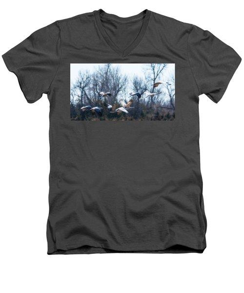 Sandhill Crane In Flight Men's V-Neck T-Shirt