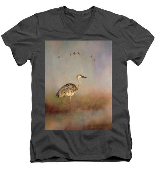 Sandhill Crane - Painterly Vertical Men's V-Neck T-Shirt