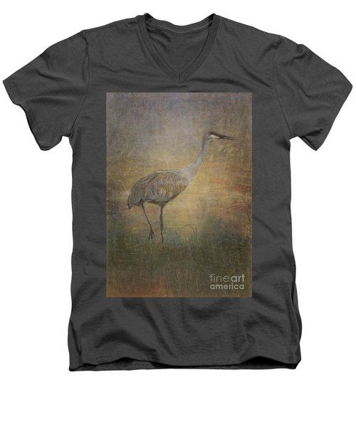 Sandhill Crane Watercolor Men's V-Neck T-Shirt by Janice Rae Pariza
