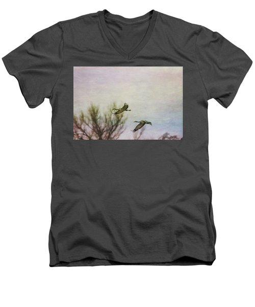 Sandhill Cranes Flying - Texture Men's V-Neck T-Shirt