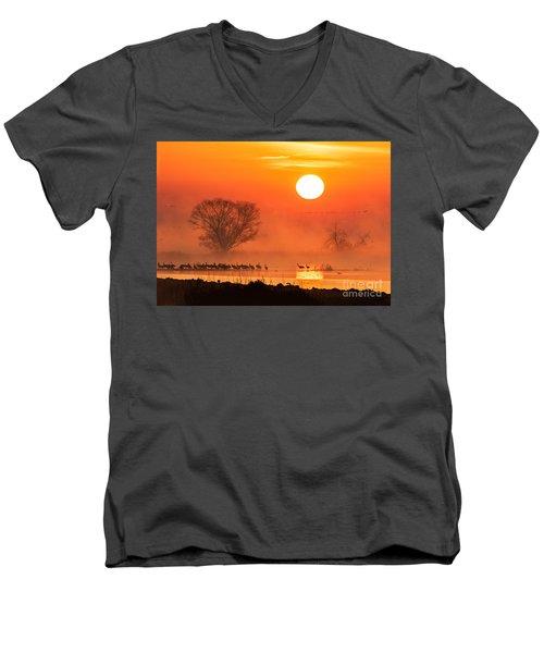 Sandhill Cranes In The Misty Sunrise Men's V-Neck T-Shirt