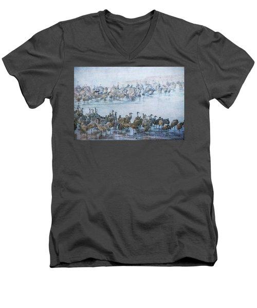 Sandhill Cranes Texture Men's V-Neck T-Shirt