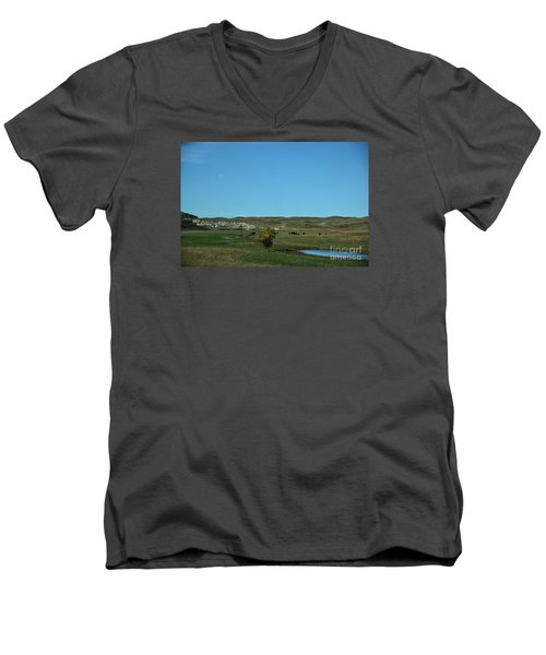 Men's V-Neck T-Shirt featuring the photograph Sandhills Ranch by Mark McReynolds