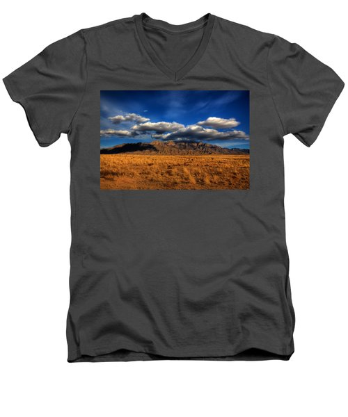 Sandia Crest In Late Afternoon Light Men's V-Neck T-Shirt