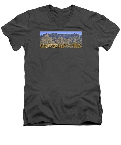 Sandia Mountain Panorama Men's V-Neck T-Shirt by Alan Toepfer